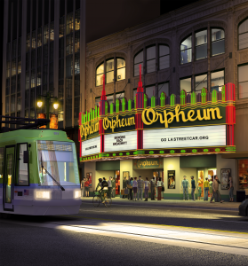 Transit - LA Streetcar in front of The Orpheum Theatre