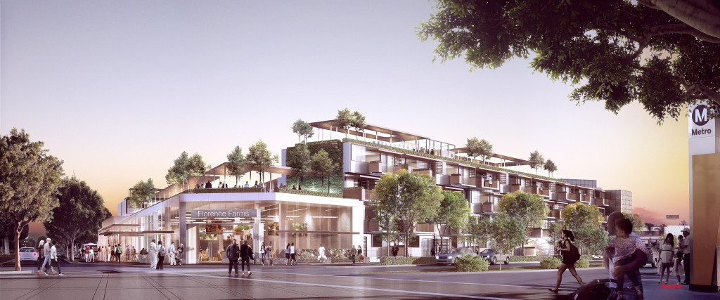 Rendering of a potential mixed-use, livable community development at the future Florence/La Brea Crenshaw Line Station in Inglewood. Commissioned for LABC by Gensler.