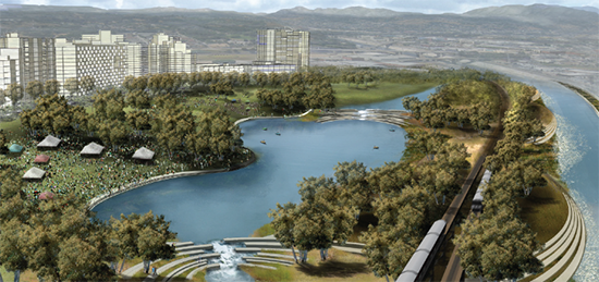 Rendering of a park and new developments along the LA River in the Cornfield Arroyo Seco neighborhood, also the location of the Cornfield Arroyo Seco Specific Plan (CASP). Image from the LA River Revitalization Master Plan.